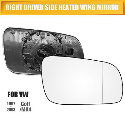 Right Driver Side Heated Wing Door Mirror Glass For VW Golf MK4 96-04 Clip UK