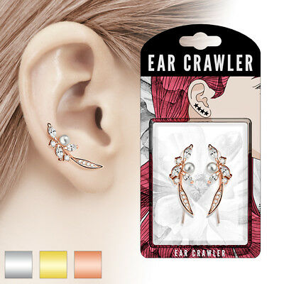 Ear-Crawler Brass Rhodium Plated in Silver,Rose Gold,Gold with Zirconia and