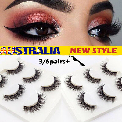 6 Pairs Mink Natural Cross Long Thick Eye Lashes MESSY WISPY False Eyelashes AU