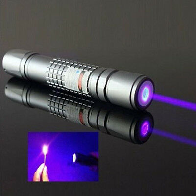 High Power Purple Laser Pointer Burning Light Beam Pen Battery Charger Perfect