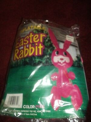 "Vintage 30"" Blow Up INFLATABLE PINK Easter Bunny Toy-Stand Up-Decoration-"