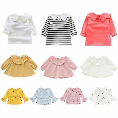 Toddler Infant Baby Girls Long Sleeve Blouse Solid Ruffle Collar T-Shirts Tops