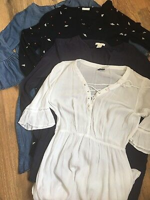 Bundle Of 4 Tunic Dresses Size 12 Cream Blues Denim