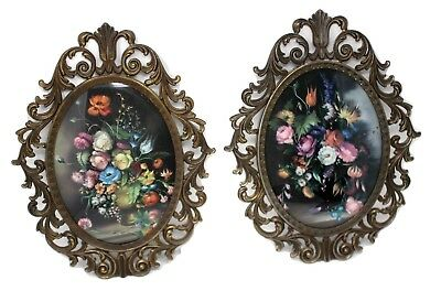 2 Ornate Metal Brass Italian Oval Picture Frames Vintage Made in Italy
