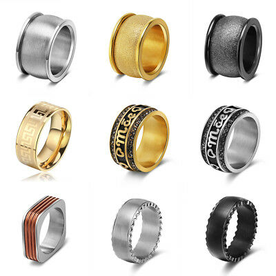 Fashion Men Women Stainless Steel Wedding Band Ring Silver/Gold/Black Size 6-13