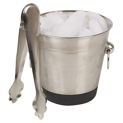 Ice Bucket & Tongs Set Stainless Steel Bucket Catering Events Hotel Restaurant