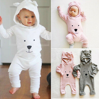UK Newborn Baby Boy Girl Autumn Cartoon Hooded Romper Jumpsuit Outfits Clothes