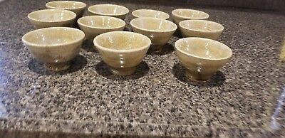 """11 Oriental Ceramic Stoneware Cups Green Footed 3"""" tall 2"""" Round"""