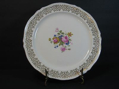 """EDWIN M. KNOWLES CHINA Co, ROUND PLATTER, GOLD FILIGREE, FLORAL/ROSES, 12.25"""""""