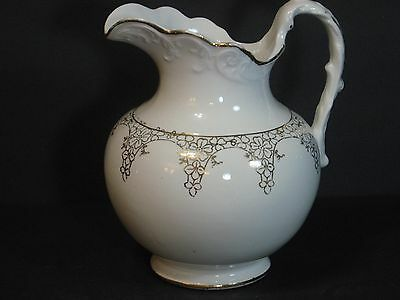 """KT&K Knowles, Taylor & Knowles White/Gold Porcelain Water Milk Pitcher, 7"""", Rare"""