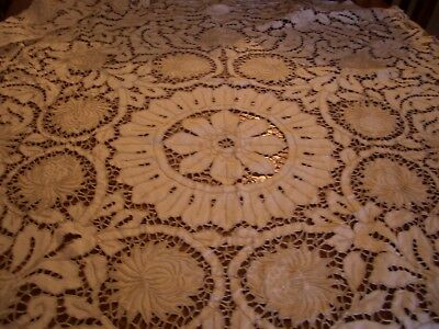 Amazing Madeira type embroidered tablecloth 46 x 49""
