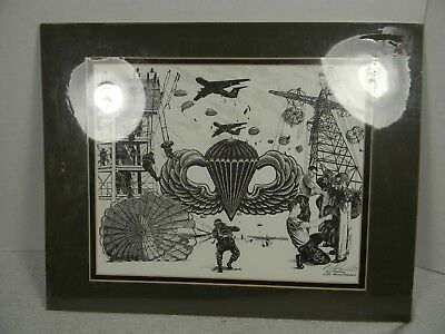 1995 Nick Pierriello US Army Paratrooper Matted Print Signed