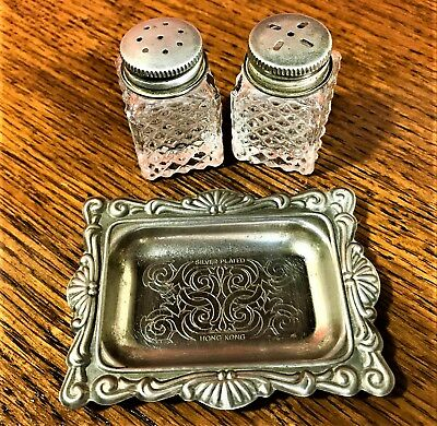 Vintage Salt and Pepper Shakers Glass Colonial style Silver Plated