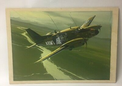 Detailed Vtg Military Army Exposed Interior Airplane Painting, Signed R. Watts