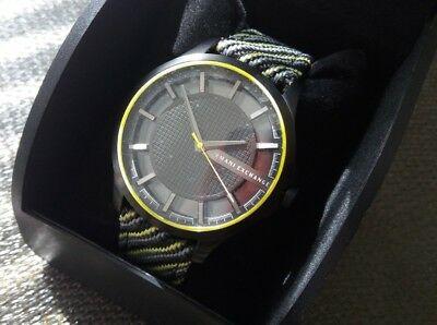 Armani Exchange AX2402 Men Watch Leather&Knit Band Black Yellow Steelers Pirates