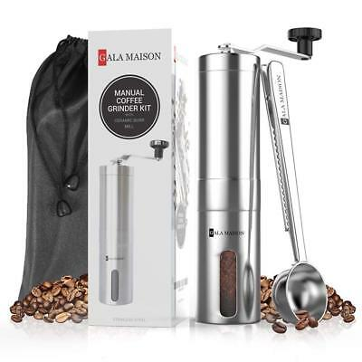 Gala Maison Manual Stainless Steel Coffee Grinder with Coffee Spoon
