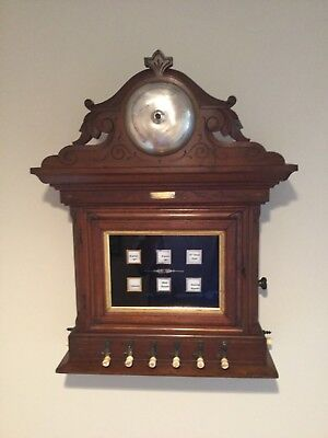 Antique Victorian Solid Walnut Servants Call Box - Reverse Painted Glass Ca 1877