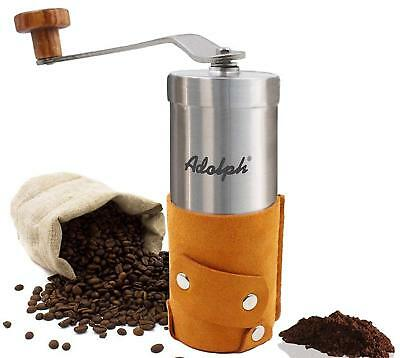 Adolph Portable Manual Brushed Stainless-Steel Coffee Grinder with Coarseness
