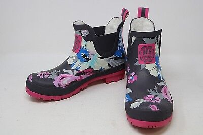 JOULES Wellibob  Ankle Boots Size 5 Fleece lined Floral design Slip On VGC *