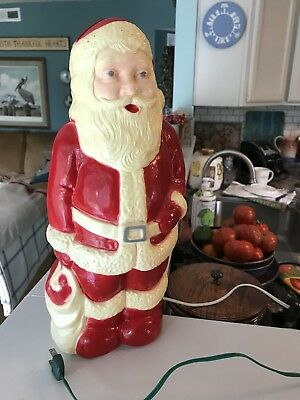 "Antique Christmas Vintage Hard Plastic Blow Mold 13"" Santa Claus Lighted EUC!"
