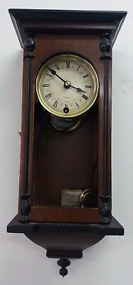 Vintage Dark Wood Hanging Wall Clock with Key (Made in Korea) (S22_2485)