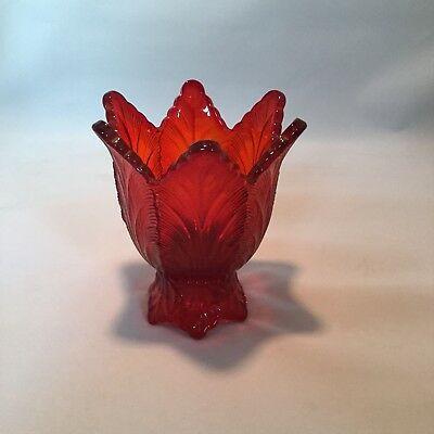 Fenton Vintage Ruby Red Glass 2 Way Candle Holder