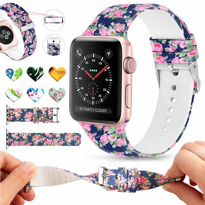 For Apple Watch Series 3 2 1 38/42mm Soft Silicone Replacment Sport Band Printed