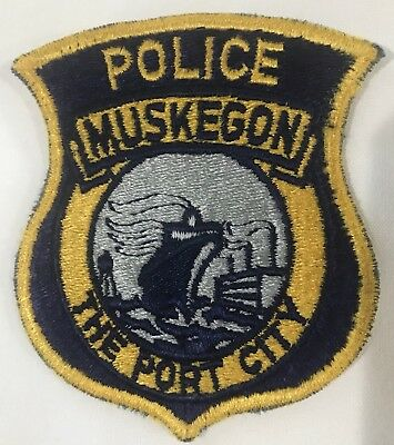 Vintage Muskegon Police Department Michigan The Port City Shoulder Patch Used