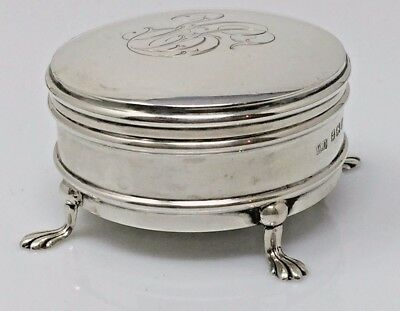 Victorian Sterling Silver Footed JEWEL Trinket BOX c1900  BIRMINGHAM DEVENPORT