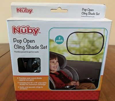 Nuby Car Sun Shade, Pop Open Cling, Pack of 2