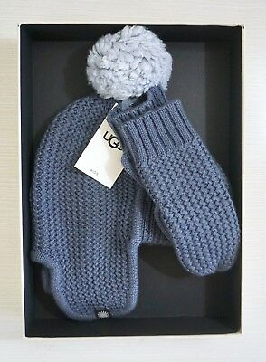 NIB $85 UGG Kids Two Piece Knitted Trapper Hat & Mittens Set, Nocturnal, Sz 2/4