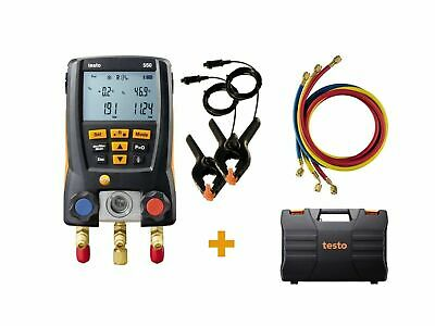 Testo 550KIT (0563 2550) Digital Manifold Kit with 3 Hoses and 2 Clamp Probes