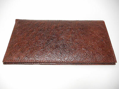 Marshal Ostrich Pattern Leather Padded Checkbook Cover-1 Card-Pen Holder-#156OS