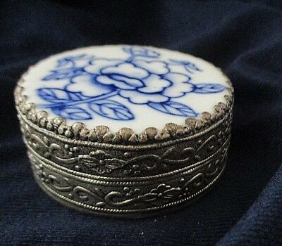 Vintage Chinese Shard Box Silver Plate Blue & White Antique China Shard