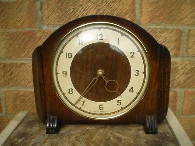 """SMITHS 4 JEWELS 8 DAY OAK (?) MANTLE CLOCK WORKING """"Made in Great Britain"""""""