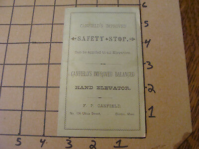 ORIGINAL - 1870's CANFIELD'S SAFETY STOP / HAND ELEVATOR - CATALOG - 9pgs