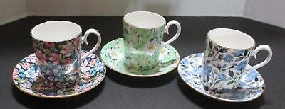 3 Royal Albert Small Tea/coffee Cups & Saucers - Lady Jane/blue Polka/ Nocturne
