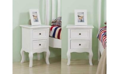 X2 White Bedside Cabinet Unit 1 Pair Bedroom Storage Side Table Set With Drawer