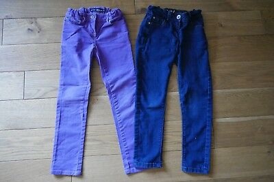 2 Lovely Pairs Girls Skinny Jeans Boden and Next   Purple & Blue - Age 8 yrs