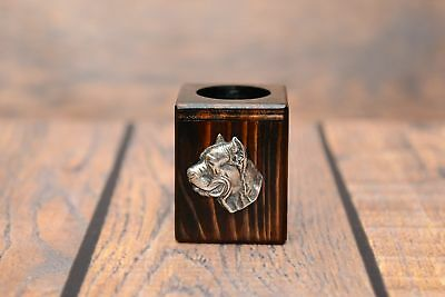 Cane Corso - wooden candlestick with image of a dog, Art Dog AU