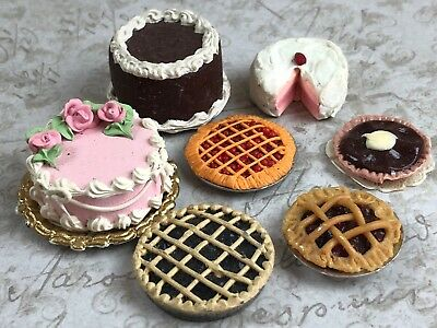 Vintage Miniature Dollhouse Collection of 7 Cakes Pies Heavy Metal Tins Deserts