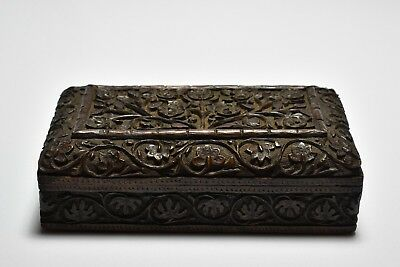 Beautifully Hand Carved Antique Lotus Jewelry Trinket Box
