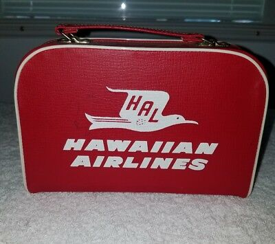 Vintage Hawaiian Airlines Mini Luggage Carrying Case RARE