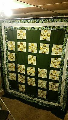 """Wonderful Nine Patch Quilt Top 78"""" by 90"""" Blocks Greens Patchwork Squares"""
