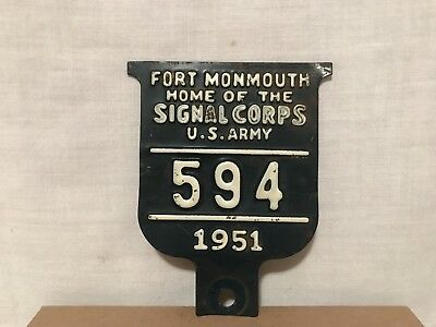 Rare Fort Monmouth Home Of The Signal Corps US Army License Plate Topper 1951