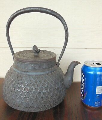 Super *Large* Japanese Tetsubin* Teapot *Cast Iron*Garden Lattice Design* Teapot