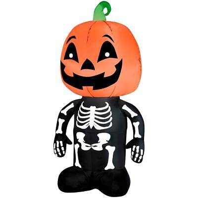 Pumpkin Skeleton Airblown Inflatable Halloween Yard Decor 4ft Home Accents