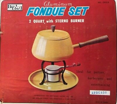 Fondue Pot w/Stand, Sterno Burner, NIB, never used, Avocado Green             **