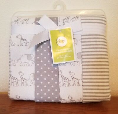 Circo 4 Pack Receiving Blanket Two By Two Gray White Neutral
