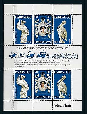 [21831] Barbados 1978 Coronation Queen Elizabeth Griffin Pelican Sheet MNH